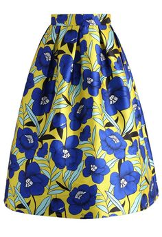 Flower Picking Printed Midi Skirt - CHICWISH SKIRT COLLECTION - Rock - Bottoms - Retro, Indie and Unique Fashion