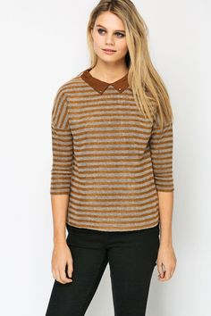 Stud Collar Knitted Stripe Pullover @ Everything5pounds.com