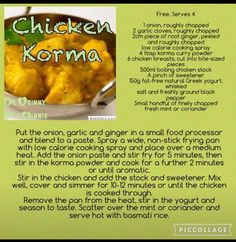 Slimming world chicken korma Slimming World Korma, Slimming World Chicken Korma, Slimming World Tips, Slimming World Recipes Syn Free, Chicken Korma Recipe, Cooking Curry, Sw Meals, Cooking Recipes, Healthy Recipes