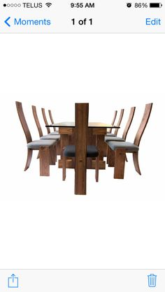 Dining set by martin@thankU.ca  Walnut and glass with wool upholstery