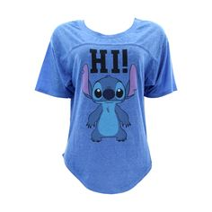 Disney - Women's Stitch Hi Lo B/O Football T-Shirts - Blue