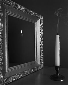 ✯ Demonstrations: Candle with Gold Frame . By Caleb Charland✯ Amazing Photography, Art Photography, Mirror Illusion, Into The Abyss, Mirror Image, Surreal Art, Great Photos, Illusions, Oversized Mirror