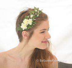 Wedding Woodland Fern and Flower Headband with by BeSomethingNew, $65.00