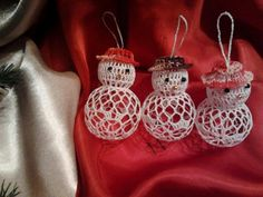 Crochet Snowman, Crochet Christmas Ornaments, Crochet Snowflakes, Holiday Crochet, Crochet Gifts, Christmas Angels, Christmas Crafts, Crochet Ball, Thread Crochet