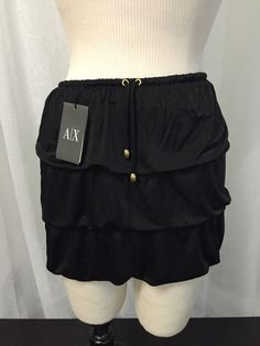 Armani Exchange Black Tiered Women's Luxurious Skirt Size Extra Small New! #Armani #Tiered