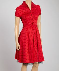 Take a look at the HEARTS & ROSES LONDON Red & Black Small Dot Shirt Dress on #zulily today!