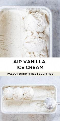 4-ingredients to allergen-friendly, dairy-free vanilla ice cream you can enjoy in a snap! This recipe is AIP-friendly, made with coconut milk, vanilla (extract or powder), a bit of raw honey and gelatin for texture.  #paleo #aip #aipdessert #aipicecream #paleoicecream #paleodessert #summerrecipes #homemadeicecream #icecreamrecipe #vanillaicecream #dairyfreeicecream #dairyfreeicecreamrecipe #healthyicecream #CookingFoodRecipes Dairy Free Vanilla Ice Cream, Paleo Ice Cream, Homemade Ice Cream, Ice Cream Recipes, Dairy Free Gluten Free Ice Cream, Best Dairy Free Ice Cream Recipe, Dairy Free Diet, Dairy Free Eggs, Dairy Free Recipes