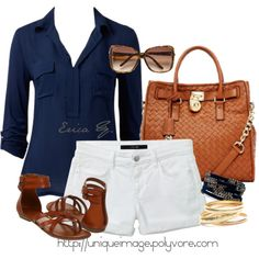 """""""Navy & White"""" by uniqueimage on Polyvore with white jeans not shorts"""