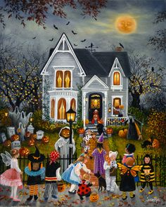 "A nw painting for Halloween 2016: ""Halloween House"". Canvas prints available. www.susanriosdesigns.com"