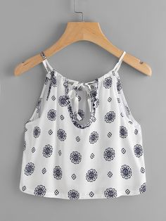 Shop Printed Random Self Tie Keyhole Back Cami Top online. SheIn offers Printed Random Self Tie Keyhole Back Cami Top & more to fit your fashionable needs. Cute Summer Outfits, Trendy Outfits, Girl Outfits, Cute Outfits, Fashion Outfits, Fashion Styles, Cute Crop Tops, Cami Tops, Polo Outfit