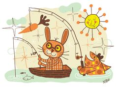 Summer camp illustration by Nate Williams #NateWilliams #fishing #bunny #sun
