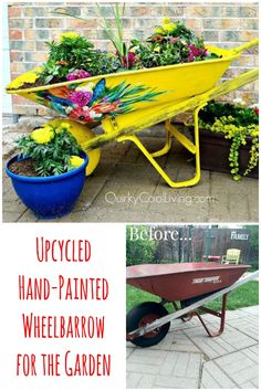 Upcycle an old rusted wheelbarrow for the garden into a beautiful, hand-painted, work of art!
