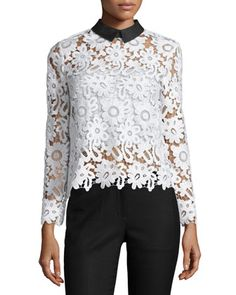 Self Portrait Long-Sleeve Collared Lace Top, White/Black, $360 | Cusp by Neiman Marcus