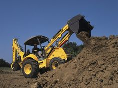 New Holland's B95B backhoe has a max dig depth of 14 feet, four inches or 18 feet, three inches with the optional extended stick. It has a digging force of 5,990 pounds.    Full specs:  http://www.specguideonline.com/product/new-holland-b95b    #construction #equipment #newholland #backhoes #loaders