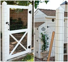"""Nice idea for a door for the coop, except use 1/2"""" hardware cloth instead of the 2x4 fencing."""
