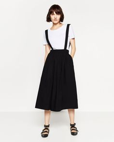 Image 2 of POPLIN SKIRT WITH STRAPS from Zara