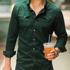 The Editor Utility Shirt – Forest Green