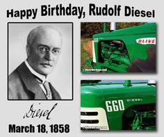 Happy Birthday to the man whose invention powers the ag industry with our tractors, combines, and trucks and ships that deliver grain and goods around the world - Rudolf Diesel.  Photos by Super T. Oliver 660 owned by Tom Magnuson of Verona, WI.  #OliverHeritage #Diesel