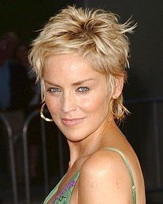 sharon stone -- awesome and sassy, you may want to have your face shape analyzed and try this if you have always thought about fun short hair!