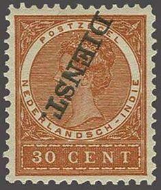 Netherlands Indies 30 cent oranjebruin met variëteit kopstaande opdruk, pracht ex. met certificaat Moeijes 1989, cat.w. 250  Dealer Corinphila Veilingen  Aucti...