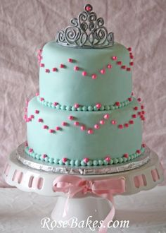 Princess Themed Party - Princess Tiara Cake plus Sparkly Pink Cake Pops and Princess Carriage Cookies!  Click over for all the details!!