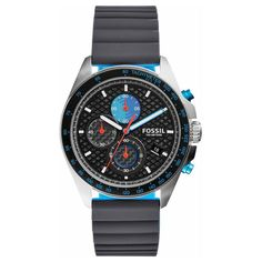 Drawing details from racing, Sport 54 boasts a sleek silicone strap, black dial with contrasting blue details and three sub-eyes reminiscent of vintage racecar gauges. Fossil Watches, Casio Watch, Chronograph, Omega Watch, The Originals, Sports, Blue, Accessories, Gray