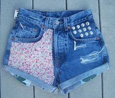 floral high waisted denim shorts by MickaelaAnn on Etsy,