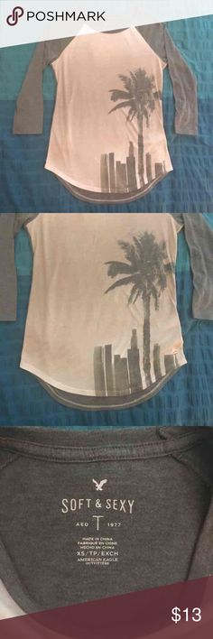 "AE Baseball Tee Baseball tshirt from American Eagle From their ""Soft and Sexy"" line Photo of Los Angeles skyline in front Size xsmall but can fit small American Eagle Outfitters Tops"