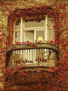 Romantic balcony in Paris, France