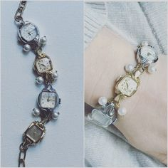 Watch Bracelet, Antique Ladies Watch Bracelet, Timepiece Bracelet, Wristwatch Bracelet, Vintage Assemblage Bracelet, Always Late Bracelet, by goodgirlsstudio on Etsy https://www.etsy.com/listing/230580940/watch-bracelet-antique-ladies-watch