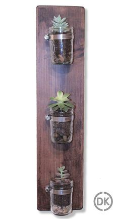 Mason Jar Wall Hanger / Planter with succulents.  Made by DKCustomCreations  http://www.etsy.com/ca/shop/DKCustomCreations