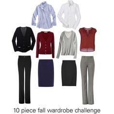 """10 piece fall wardrobe challenge - business casual"" by katie410 on Polyvore"