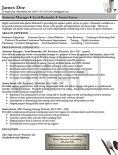 newest bartender resume examples bartender resume template download sample resume - Sample Bartending Resume