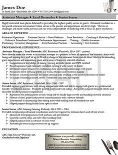 Sample Resume For Bartender Server Newest Format 2 ResumeS Computer Science
