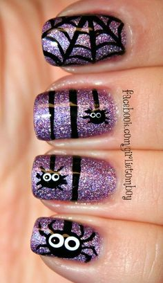Spider Purple Nail Art For Short Nails