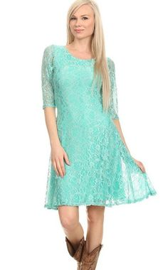 Lace, relaxed, 3/4 sleeve short dress in a layered style with a scoop neck. Great fitted look yet it is very breathable and relaxed. Western/ Bohemian/Vintage.