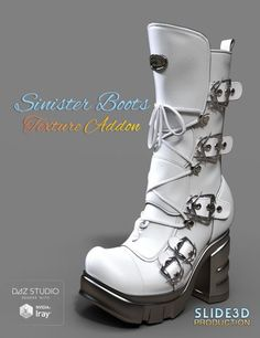 Slide3D Sinister Boots for Genesis 3 Female(s) Texture Addons | 3D Models for Poser and Daz Studio