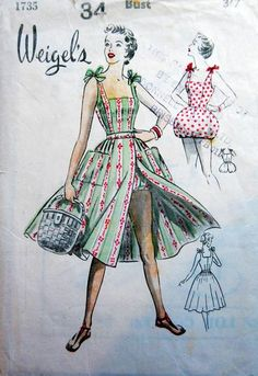 """vintage sewing Weigel's circa Play suit and skirt. - Weigel's circa Play suit and skirt. Add a photo to the gallery by clicking the """"modify"""" button below. Dress Making Patterns, Vintage Dress Patterns, Clothing Patterns, Vintage Dresses, Vintage Outfits, Mode Hollywood, 1950s Fashion, Vintage Fashion, Classy Fashion"""
