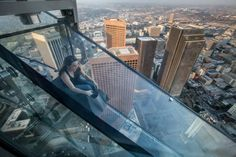 Would You Slide Down the Side of a Skyscraper? You can at Skypace LA!: The Skyslide at OUE Skyspace LA in the US Bank Tower