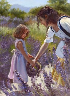Lavender flowers surrounding mother and child. Gathering Essence by Sheri Dinardi Oil ~ 16 x 12 Beautiful Artwork, Beautiful Pictures, Lavender Cottage, Lavender Fields, Lavander, Lavender Flowers, Purple Roses, Lilac, Double Exposition