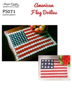 Crochet Pattern American Flag Doilies PS071-R