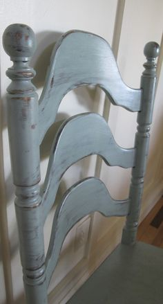 One coat of Duck Egg Blue Chalk Paint® by Annie Sloan. Slightly distressed with Furniture Seal Satin applied. www.fauxmerchant.com