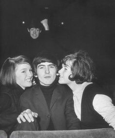 a beatles-themed photobomb: come on paul, you can't have the ladies all the time.
