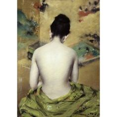 Back of Nude William Merritt Chase (1849-1916American) Pastel The White House Washington DC Canvas Art - William Merritt Chase (18 x 24)
