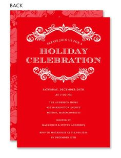 Traditional Flourish Red Invitation #holiday #party #red #white #invitation