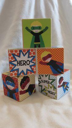 Boys Super Hero Comic Strip Wood Blocks Retro by TheBlockSpot DIY - ?