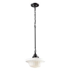 """Quinton Parlor Collection 1-Light 11"""" Oiled Bronze Pendant with White Hand Blown Glass 66217-1"""