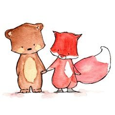 Pals--Fox and Bear--- Nursery Art Illustration