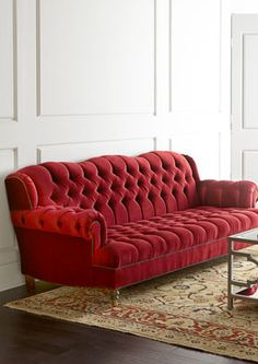 Cranberry sofa *Love this Cranberry sofa, but I've heard that you have to be careful when decorating with red. I think it would look great in so many of the living-rooms I've pinned.