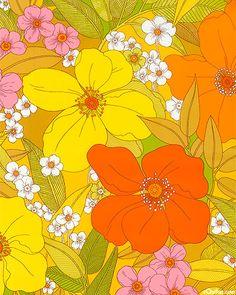 Paola Citrus Retro Floral Cotton Fabric by Alexander Henry Motif Vintage, Vintage Textiles, Vintage Patterns, Retro Flowers, Retro Floral, Vintage Floral, Retro Kunst, Retro Art, Motif Floral